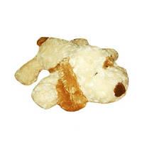 Мягкая игрушка - СОБАКА (белая, рыжее ухо, 32 см)