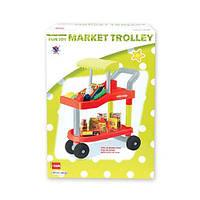 Игрушечная тележка для супермаркета 14053: 2 уровня, продукты, пластик, коробка 37х52х15,5 см