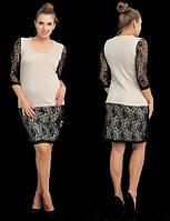 Платье Комбинированное с чёрным гипюром цвет бежевый БАТАЛ