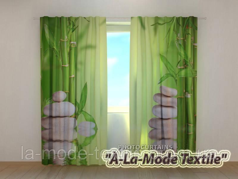 Фото шторы 3D Бамбук и камни