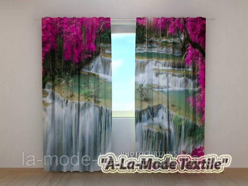 Фотошторы 3D Цветы у водопада