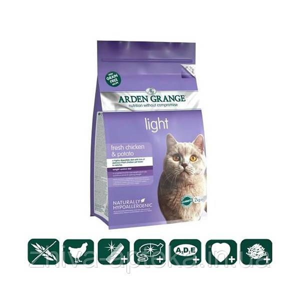 Корм беззерновой для взрослых кошек диетический, низкокалорийный со свежей курицей и картофелем 2кг