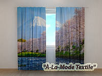 Фотошторы 3D Сакура на фоне гор