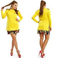 Платье туника Трикотажное в дуэте с цветами  цвет жёлтый БАТАЛ