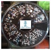 Стразы пластиковые в карусели для дизайна ногтей камни сваровских