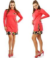 Платье туника Трикотажное в дуэте с цветами  цвет кораллл БАТАЛ