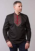 """Вишиванка чоловіча """"Родосвіт""""  чорна сорочкова тканина довгий рукав"""