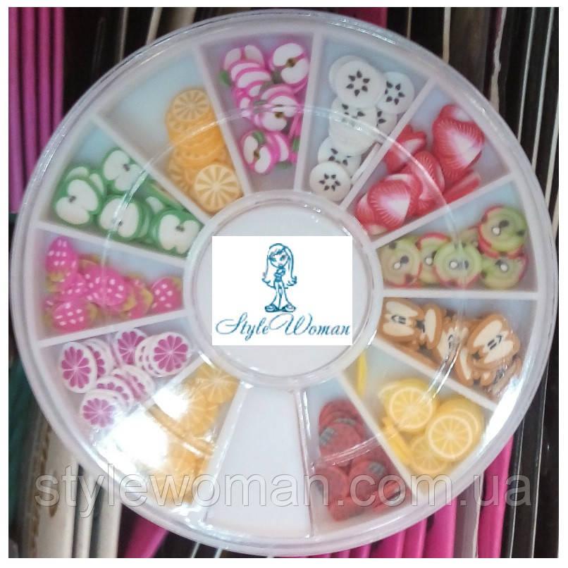 Стразы пластиковые в карусели для дизайна ногтей фрукты