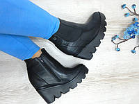 Демисезонные ботинки черные на танкетке