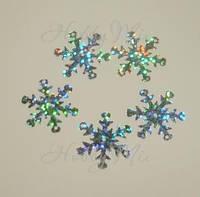 Пайетки снежинки серебристые 10 шт., фото 1