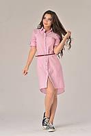 Платье-рубашка розовое, фото 1