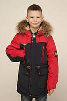 Зимняя куртка парка для мальчика на овчине.