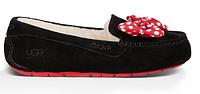 Женские зимние мокасины UGG Australia Minnie Mouse (Угги Австралия) с мехом черные