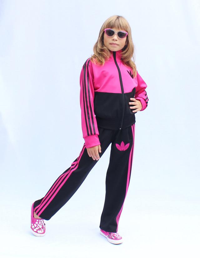 - детский спортивный костюм с цветным верхом - малина -