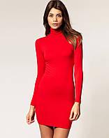 Молодежное платье-гольф красное, фото 1