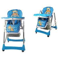 Стульчик для кормления ребенка С0103: голубой, 2 колеса, 5 позиций высоты, 74х60х105 см, 8,6 кг
