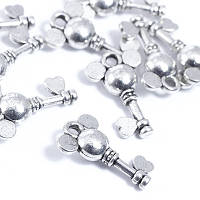 Кулон Ключ, Металл, Цвет: Античное Серебро, Размер: 19х11х6мм, Отверстие 2мм, (БА000000206)