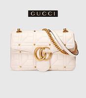 Gucci Marmont - женская стеганая сумочка цвета слоновой кости