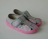 Тапочки для девочки WALDI розово-серый леопард