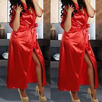 Пеньюар халат атлас+стринги Красный длинный, фото 1