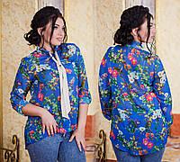 """Элегантная женская рубашка в больших размерах 1027-3 """"Галстук Цветы"""""""