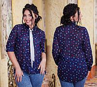 """Элегантная женская рубашка в больших размерах 1027-2 """"Галстук Якоря"""""""