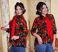"""Элегантная женская рубашка в больших размерах 1027-1 """"Галстук Розы"""""""