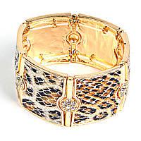 [5-6см] Браслет женский, широкий, стилизирован под леопарда, цвет- золото