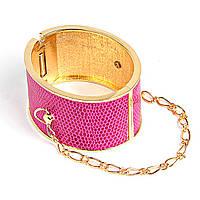 Акция Браслет женский, широкий, твёрдый, с цепочкой, розовый