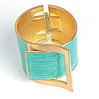 [6см] Браслет женский, широкий, сделан в виде ремня и пряжки, голубой, украшен камнями