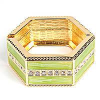 """[6см] Браслет """"Шестигранник"""", женский, твердый, инкрустирован декоративными камнями, зелёный"""