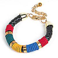 [6.5см] Браслет женский, гибкий, декорированный элементами красного, жёлтого и синего цветов