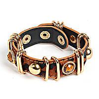 [6см] Браслет женский, в виде коричневого пояса, с кабошоном янтарного цвета в глухой оправе