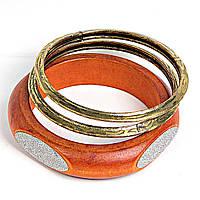 [5.5см] Браслет женский из двух колец золотого и одного обруча оранжевого цвета с белыми вставками