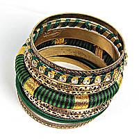 """[6см] Браслет """"Кольца Змеи"""", женский, из шести золотых колец, декорированных камнями и зеленого обруча"""