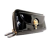 Женский кожаный кошелек на 2 молниях Moro&Jenny 16-64 черный лаковый