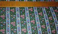 Ситец с турецкими огурцами и розовыми цветами на синей и черной полоске, фото 1