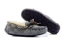 Зимние женские замшевые мокасины UGG Australia (Угги Угг Австралия) с мехом серые