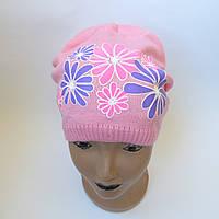 Детская вязаная шапка для девочки 5-12 лет оптом
