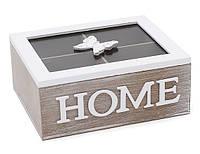 Коробка деревянная для чая со стеклянной крышкой