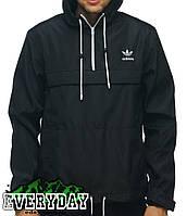 Чёрный анорак ветровка куртка Adidas, есть опт, фото 1