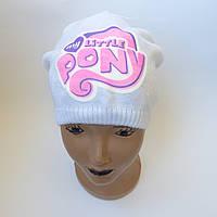 Детская вязаная шапка для девочки 4-6 лет оптом, фото 1
