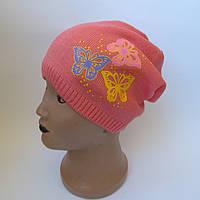 Детская вязаная шапка для девочек 5-12 лет оптом