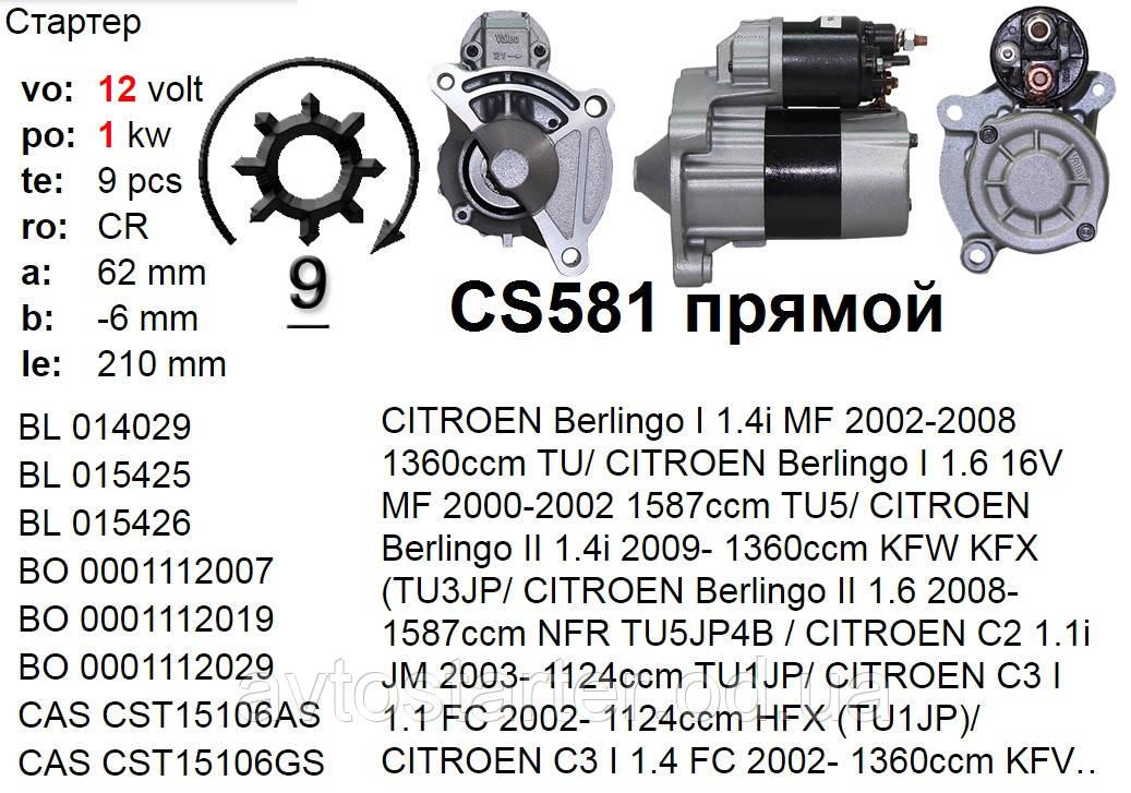 Стартер б/у BOSCH CITROEN Berlingo C2 C3 C4 Xsara FIAT Fiorino PEUGEOT 106 205 206 207 306 307 309 Partner