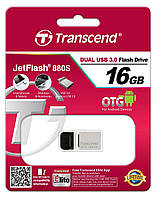 Накопитель usb 3.0 transcend jetflash otg 880 16gb metal silver