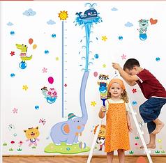 """Наклейка на стену, наклейки в детсад """"слоненок с китом"""" ростомер 1м92см*1м65см (2 листа 60*90см)"""