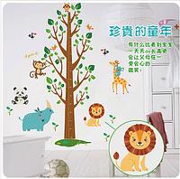 """Наклейка на стену """"Зверята с птицами возле дерева"""" ростомер 1м75см*1м10см наклейки в детскую (60*90см)*2 листа"""