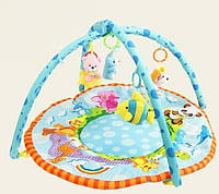 Игровой развивающий коврик для малышей 615 , мягкая тканевая основа, две дуги, 4 подвесные игрушки