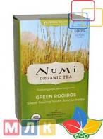 Numi Tea Органический чай, Зеленый ройбуш, без кофеина, 18 чайных пакетиков, 43,2 г