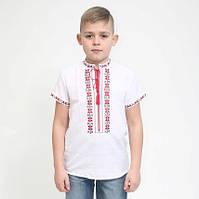 """Вишиванка для хлопчиків """"Алатир""""  біле домоткане полотно короткий рукав"""